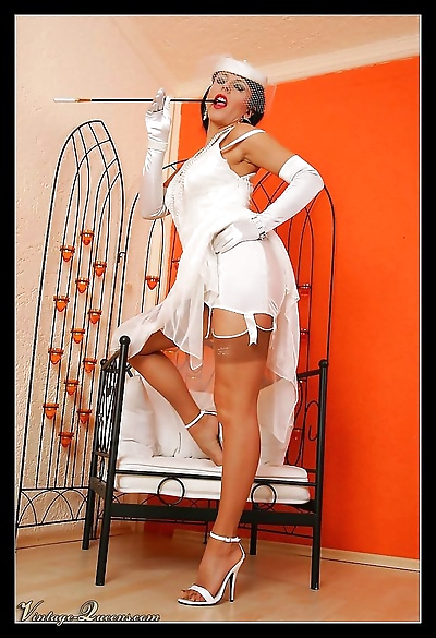 Glamour vintage queen in sexy white dress and nylons - part 1031